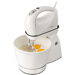 Philips HR1565/50 Stand Mixer with StainlessSteel Beaters, Dough Hooks and 3 L Rotating Bowl (White)