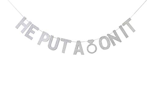 Silver Glitter He Put A Ring On It Banner, Bunting Garland Photo Booth Props for Wedding, Engagement, Bachelorette, Bridal Shower Party Decorations ()