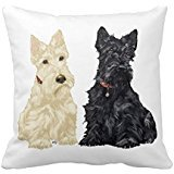 BFarwellStore Decorative Cotton Linen Square Throw Pillow Case Cushion Cover Wheaten & Black Scottish Terriers Design 18 x 18 Inches