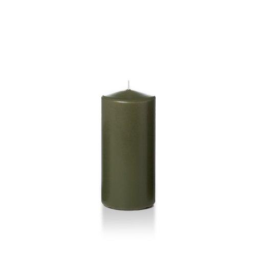 "Yummi 3"" x 6"" Olive Round Pillar Candles - 3 per pack"