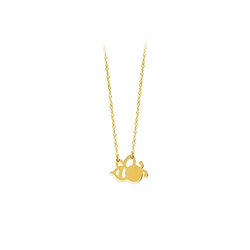 (14k Yellow Gold Cut Out Bee Adjustable Necklace - 18 Inch)