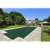 20'x40' Mesh - CES Rectangle Inground Safety Pool Cover - 20 ft x 40 ft In Ground Winter Cover with 4'x8' Center End Steps (GREEN)