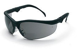 (Crews K3H25G Klondike Plus Magnifier Polycarbonate Bi-Focal Lens Glasses with Black Frame and 2.5 Diopter Gray Lens, 1-Pair)