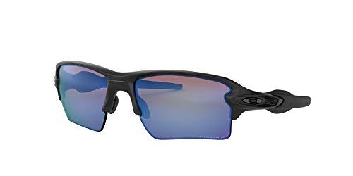 Oakley Men's OO9188 Flak 2.0 XL Rectangular Sunglasses, Matte Black/Prizm Deep H2O Polarized, 59 ()