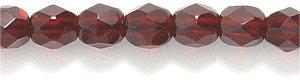 Preciosa Czech 4-mm Fire-Polished Glass Bead, Faceted Round, Transparent Deep Garnet, 200/pack