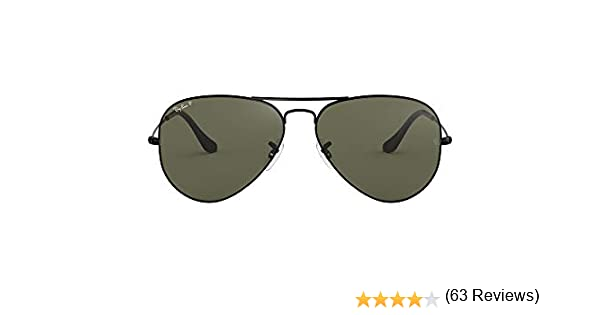 Ray-Ban Aviator Gafas de sol, Black, 55 para Hombre: Amazon ...