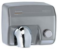 Saniflow E88CS Push Button Operated Hand Dryer, Steel One-piece Cover with Satin (Brushed) Chrome Plated Steel 5/64