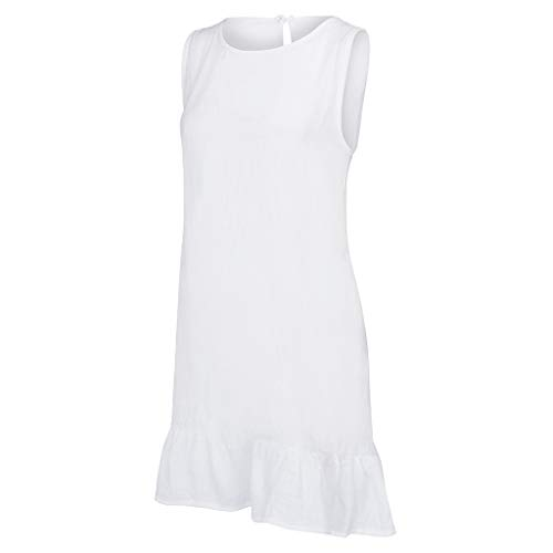 Summer Dresses for Women Casual O-Neck Ladies Solid Color Buttons Casual Mini Dress(White,M) by yijiamaoyiyouxia Dress (Image #6)