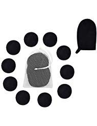 Reusable Makeup Removing Pads and Microfiber Face Cleansing Gloves -|Reusable Cotton Rounds, Laundry bag & 1 Black Makeup Remover Mitts | Little Footprint (Black)
