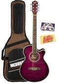 Oscar Schmidt OG10CE Cutaway Acoustic-Electric Guitar - Flame Transparent Purple
