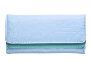 Canvas Long Snap Wallet (KLOUD City Synthetic Leather Stone Pattern Double Layer Women Wallet (Light Blue))
