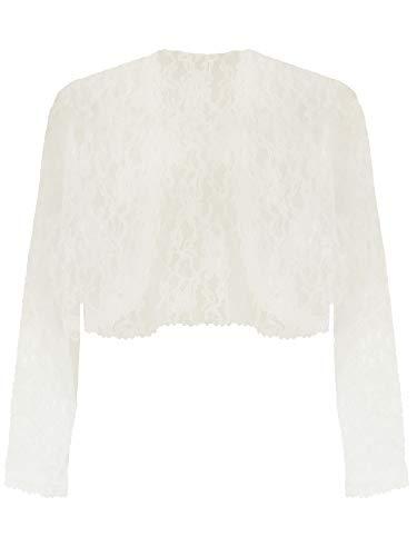 Ivory White Long Sleeve Dressy Lace Bolero Shrug Jacket Size Small ()