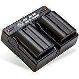 BM de primera Paquete de 2 EN-EL15 baterías y Kit de Cargador de Batería Dual para Nikon 1 V1, D600, D610, D750, D800,...