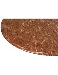 """Table Cloth Round Bistro 24"""" to 32"""" Elastic Edge Fitted Vinyl Table Cover Florentine Marble Pattern Tan Brown"""