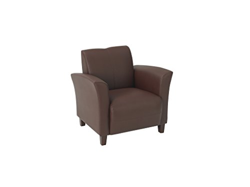 Office Star Breeze Wine Eco Leather Club Chair with Cherry Finish Legs Eco Leather Club Chair
