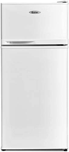 COSTWAY Compact Refrigerator, 3.4 cu. toes. Classic Fridge with Adjustable Removable Glass Shelves, Mechanical Control, Recessed Handle for Dorm, Office, Apartment (White)