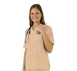Women's Scrub Set - Medical Scrub Top and Pant, Khaki, Medium