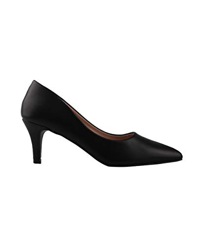 (3301-BLK-5: PU Pointed Kitten Heel Courts)