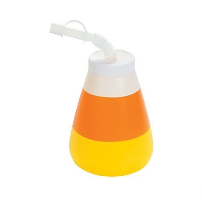 Molded Candy Corn Cups with Lid & Straw 24 pack