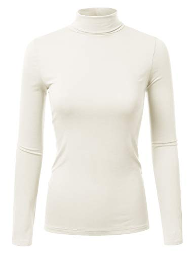 Doublju Soft Knit Turtleneck T-Shirt Top for Women with Plus Size Ivory 1X