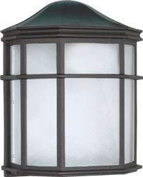 Replacement for 60/539 1 Light 10 INCH CAGE Lantern Wall Fixture DIE CAST Linen Acrylic Lens Textured Black Bulk Head ()