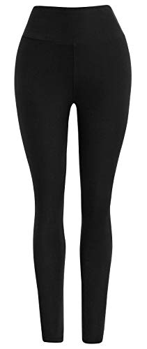 9540b10e9c7a8 Ultra Soft High Waist Solid Seamless Compression Fashion Ankle Leggings for  Women Pack of 3 Color Black Size XS-M