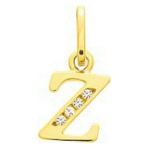 So Chic Bijoux © Pendentif Lettre Z Initiale Alphabet Oxyde de Zirconium Blanc Or Jaune 750/000 (18 carats)