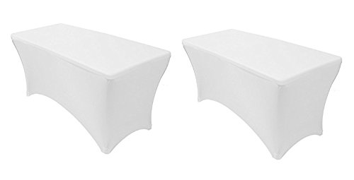 Ifavor123 Set of 2 Fitted Spandex Stretch Tablecloth - Rectangle Durable Fabric Table Cover For 6 FT. Long Banquet Table (White)