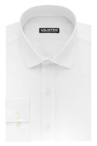 (Kenneth Cole Unlisted Men's Dress Shirt Slim Fit Solid ,  White,  16