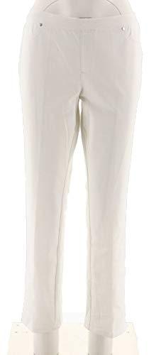 H Halston Petite Studio Stretch Straight Leg Pull-on Pants White 8P New A289516