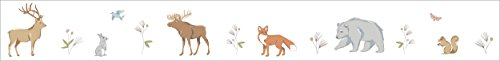 - Sweet Jojo Designs Woodland Animal Toile Baby Childrens and Kids Wall Paper Border