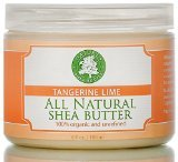 Tangerine Lime Organic All Natural Shea Butter - Moisturizer, Anti-Inflammatory and Anti-Aging Properties - 6oz.
