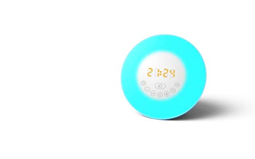 Bluetooth Speaker Wake Up Light Alarm Clock by iPM | Dawn Simulator | Light Therapy Product | Sunrise Simulant | Gradual Sound Increase | Six Natural Sounds | FM | Chimes Sound | Birds Sounds