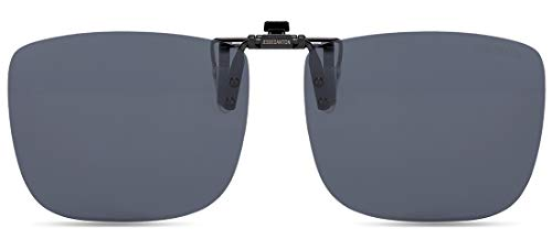 CAXMAN Polarized Clip On Sunglasses Over Prescription Glasses for Men Women 100% UV Protection Flip Up Grey Lens Extra Large