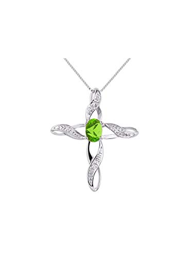 Diamond & Peridot Cross Pendant Necklace Set In Sterling Silver .925 with 18