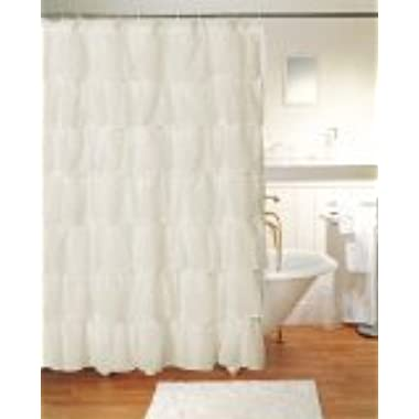 Gypsy Ruffled Shower Curtain Cream 70  width x 72  length