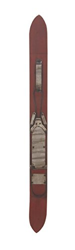 (Deco 79 60638 Vintage Red Ski Wooden Wall Décor, Gray/Black)