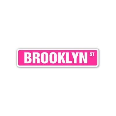 BROOKLYN Street Sticker Sign PINK name kids childrens room door bedroom girls boys gift - Sticker Graphic Personalized Custom Sticker Graphic: Baby