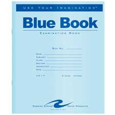 Roaring Spring 77512 - Exam Blue Book, Wide Rule, 8-1/2 x 7, White, 8 Sheets/Pad-ROA77512 by Roaring Spring