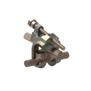 TE Connectivity 83748-2 Galvanized Steel and Copper Clad Steel Grounding/Earthing Connector 5/8 Inch 4/0-4/0 AWG 350 KCMIL-2/0 AWG Wrench-Lok