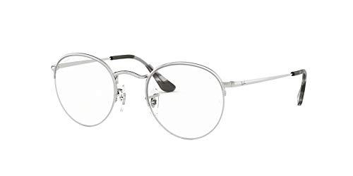 Ray-Ban RX3947V Round Metal Eyeglass Frames, Silver/Demo Lens, 48 mm