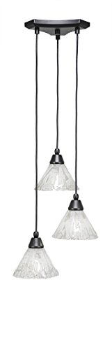 Toltec Lighting 28-MB-7195 Europa 3 Multi-Light Mini Pendant with Italian Ice Glass, 7