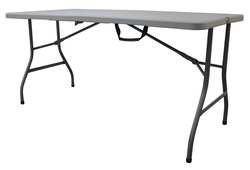 Industrial Grade 13V435 Table, 1/2 Fold, 5 Ft, Blow Mold, Gray by Industrial Grade