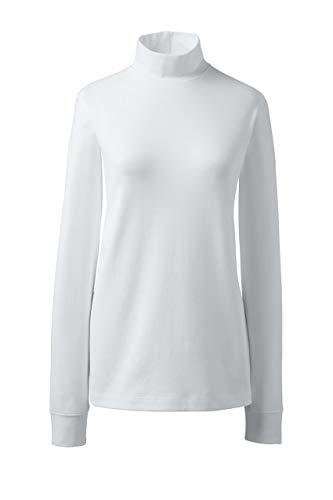 (Lands' End Women's Relaxed Cotton Mock Turtleneck, XL, White)