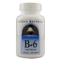 Vitamin B-6, 500 mg, Time Release, 50 Tabs by Source Naturals (Pack of 6)