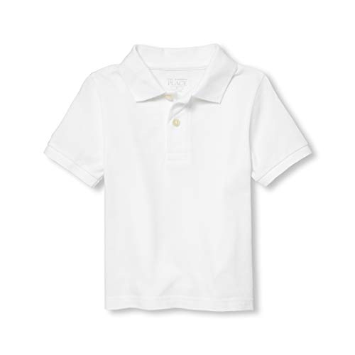 The Children's Place Baby Boys' Toddler Short Sleeve Uniform Polo, White 0049, 3T