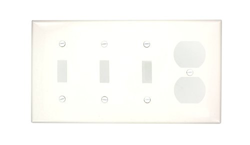 Leviton 80743-W 4-Gang 3-Toggle 1-Duplex Device Combination Wallplate, Thermoplastic Nylon, Device Mount, White