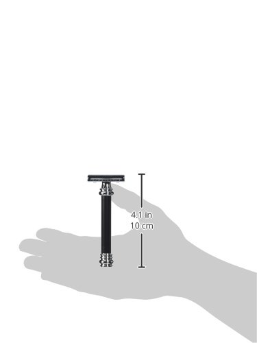 Merkur Heavy Duty Long Handled Barber Pole Safety Razor, Black