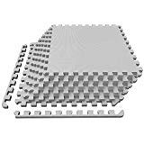 Tile Cushion - LEVOIT Puzzle Exercise Mat, Premium EVA Foam Interlocking Tiles, Protective Flooring for Gym Equipment and Cushions for Workouts, 24 SQ FT (6 Tiles, 12 Borders) (Grey)
