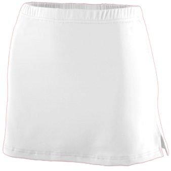 Style 752 Girls Poly/Spandex Team Skort (Large, White) by Augusta Sportswear
